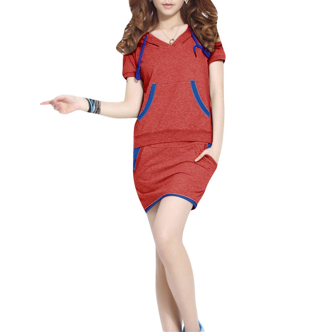 Women Short-sleeved Split Neck Tops w Color Contrast Skirt Watermelon Red S