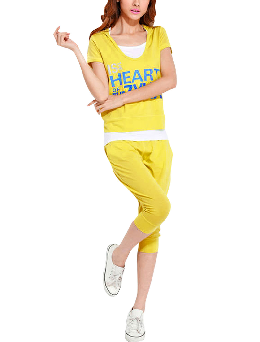 Lady Short Sleeve Letters Prints Elastic Waist Sportsuit Yellow XS