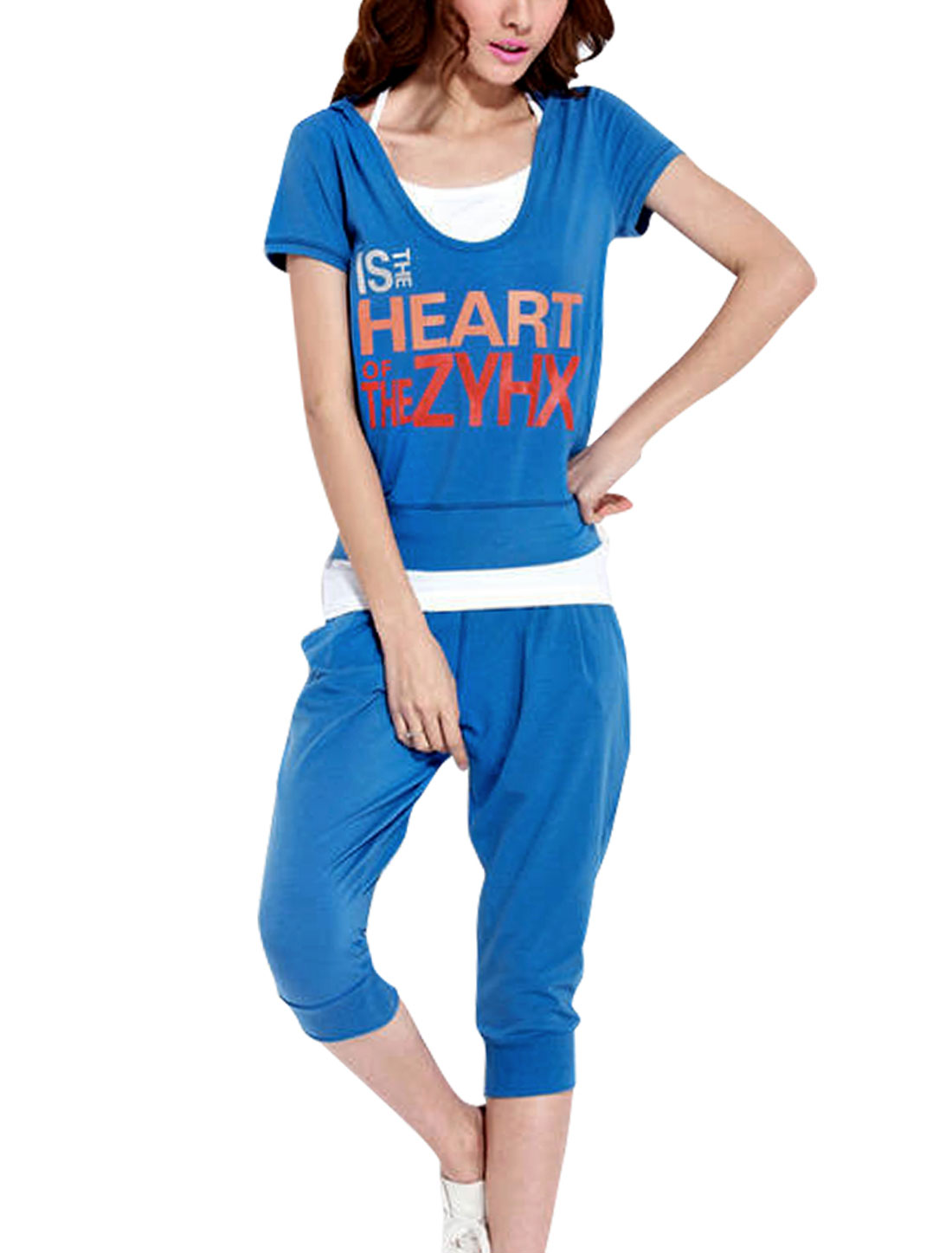 Lady Pullover Letters Prints Pockets Three Pieces Set Sportsuit Royal Blue XS