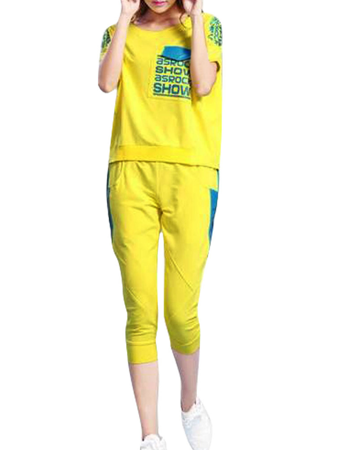 Women Letters Prints Top w Zipper Capris Pants Sets Yellow S