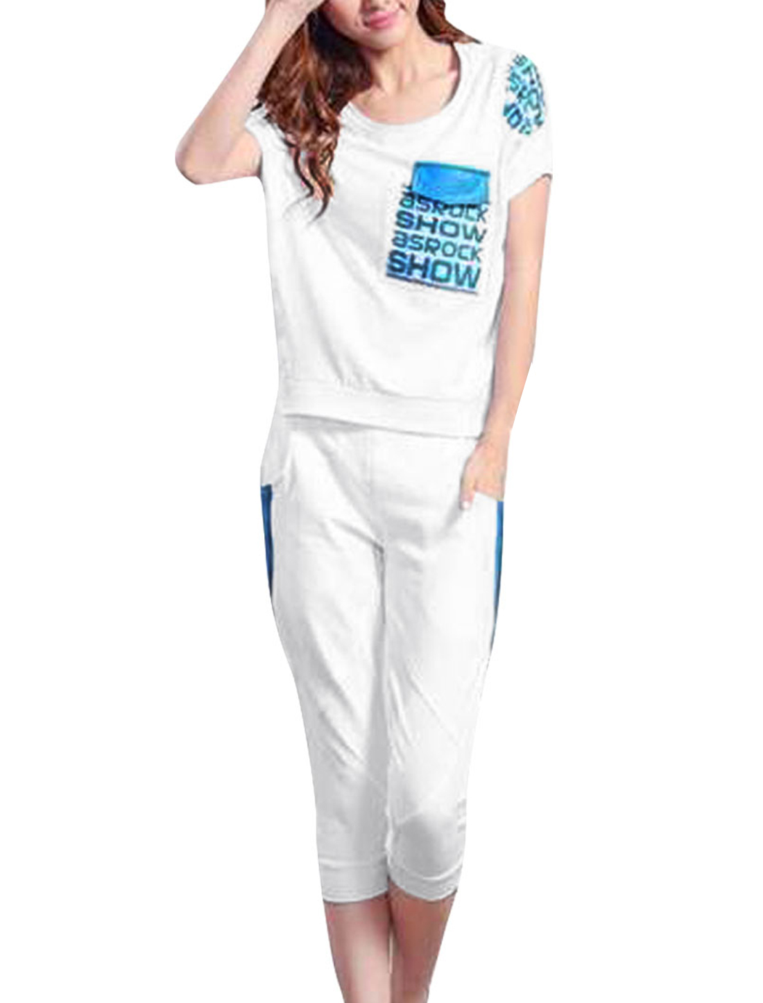 Women Letters Prints Tee Shirt w Stretchy Capris Pants Sets White S