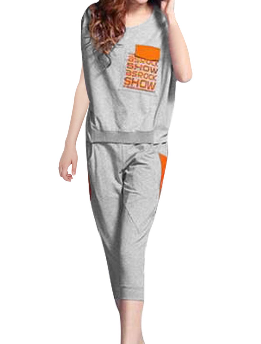 Women Letters Prints Top w Zipper Capris Pants Sets Gray S