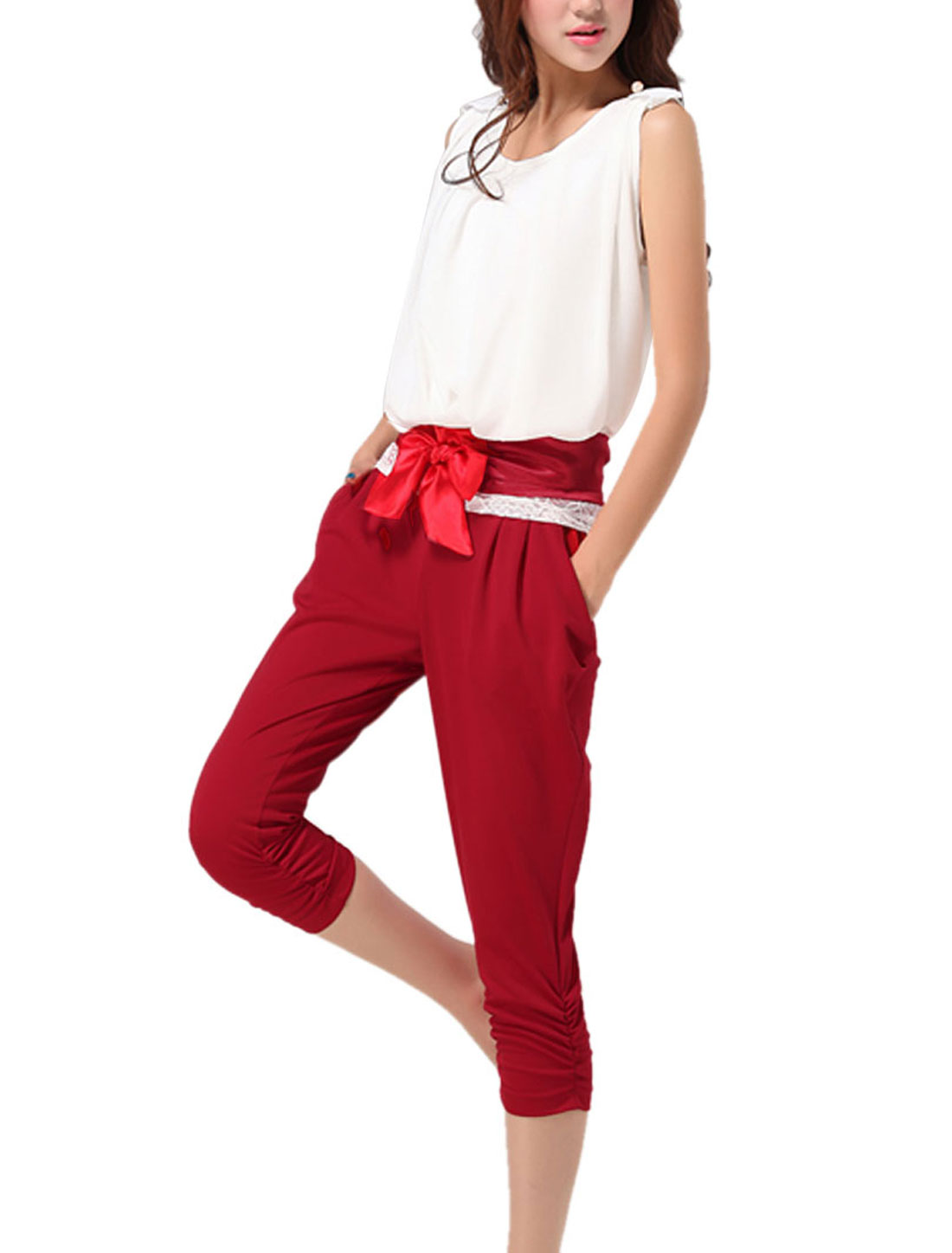 Ladies Sleeveless Round Neck Tops w Pockets Capris Pants Red White XS