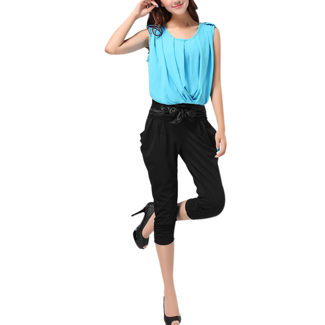 Women Stretch Waist Lace Panel Shirt w Pockets Capris Pants Black Baby Blue XS