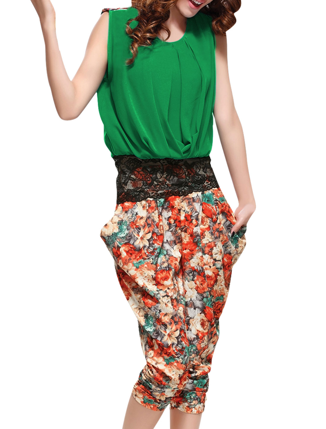 Ladies Round Neck Shirt & Floral Prints Capris Pants Green Orange S