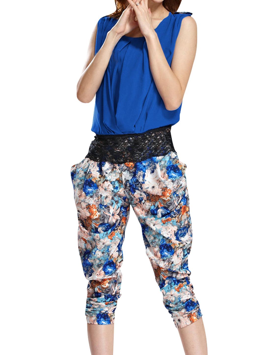 Ladies Lace Splice Shirt & Elastic Waist Capris Pants Royal Blue Aqua S