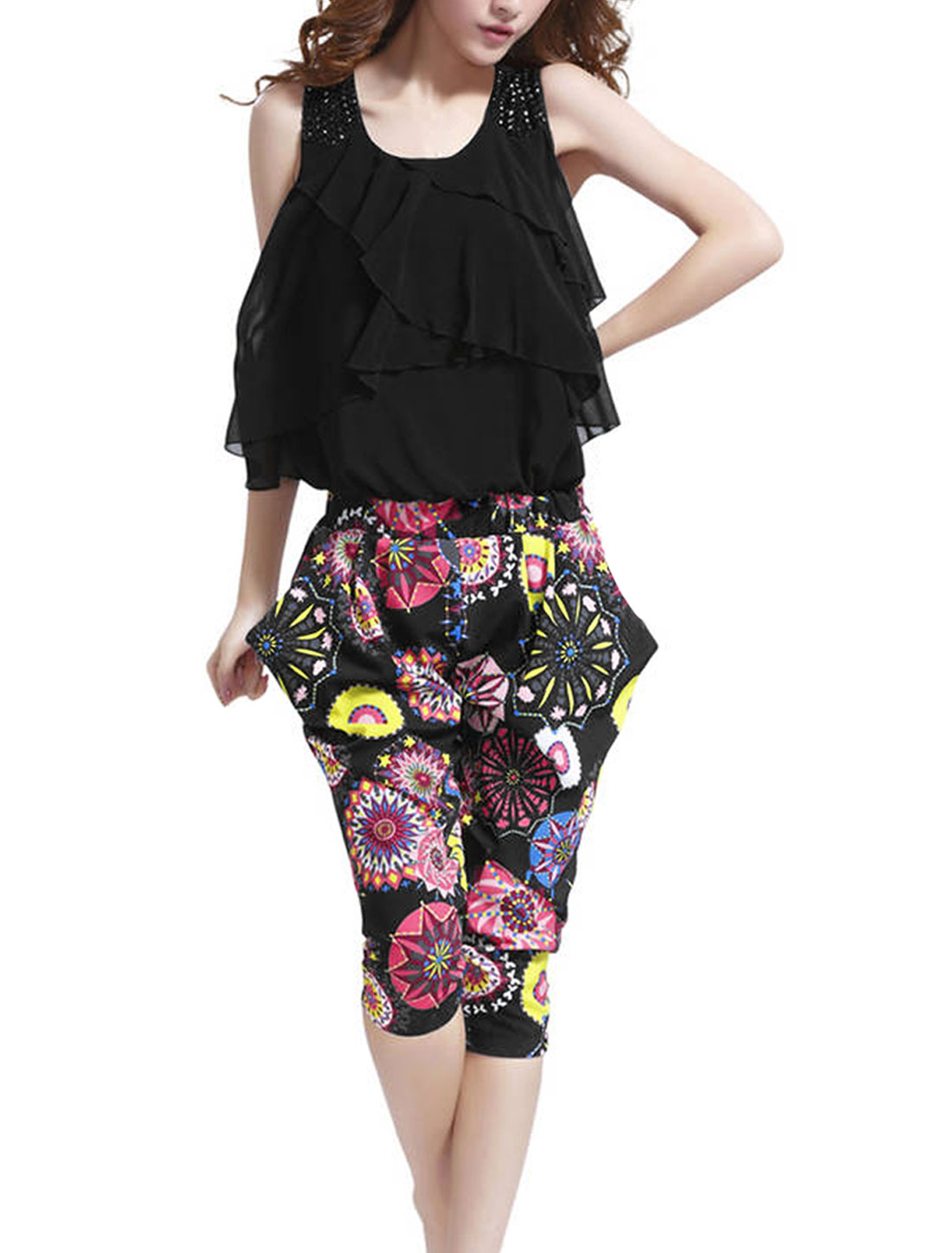 Woman Tiered Ruffles Top Elastic Waist Novelty Prints Black Capris Jumpsuit S