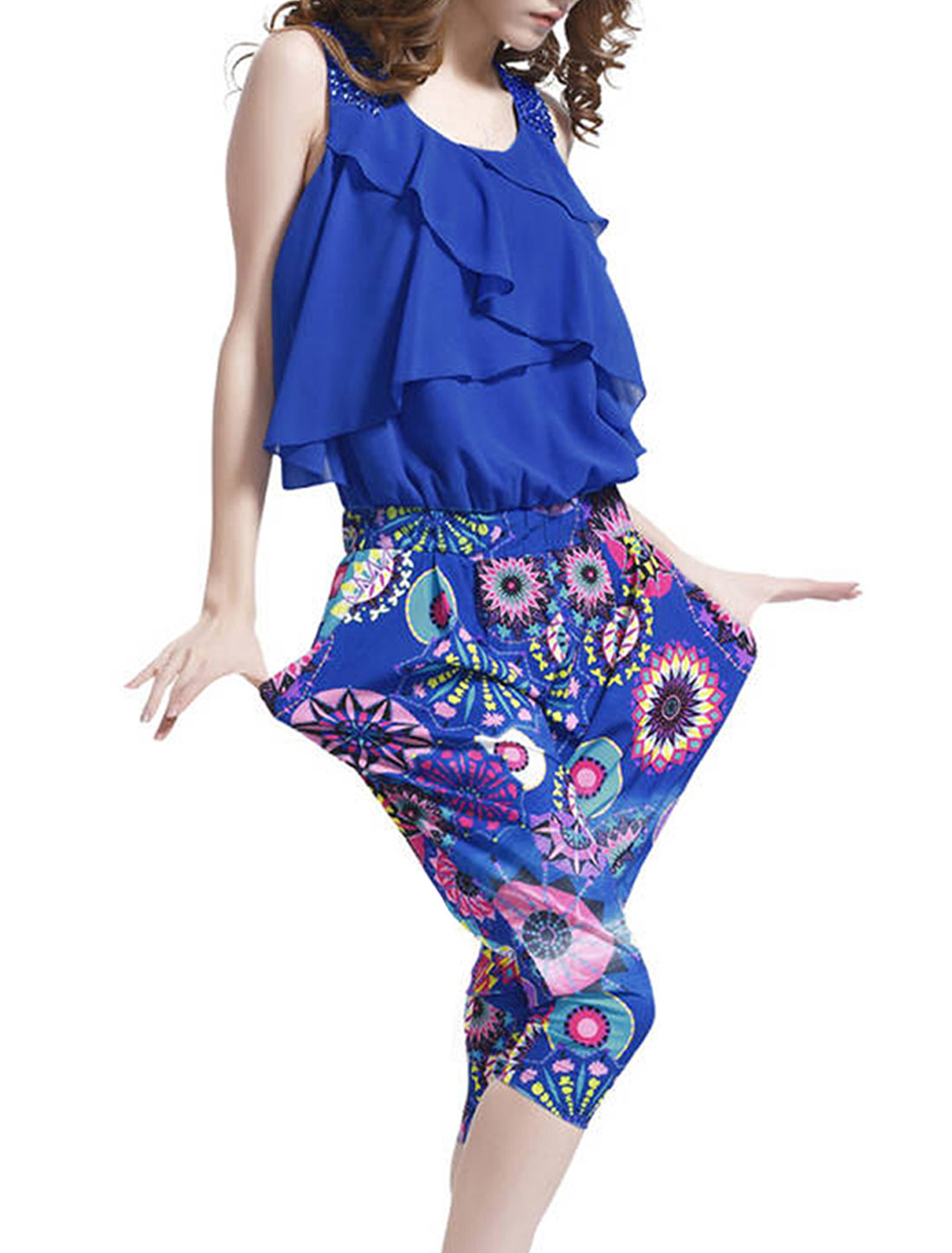 Women Fake Crystal Decor Shoulder Novelty Prints Royalblue Capris Jumpsuits S