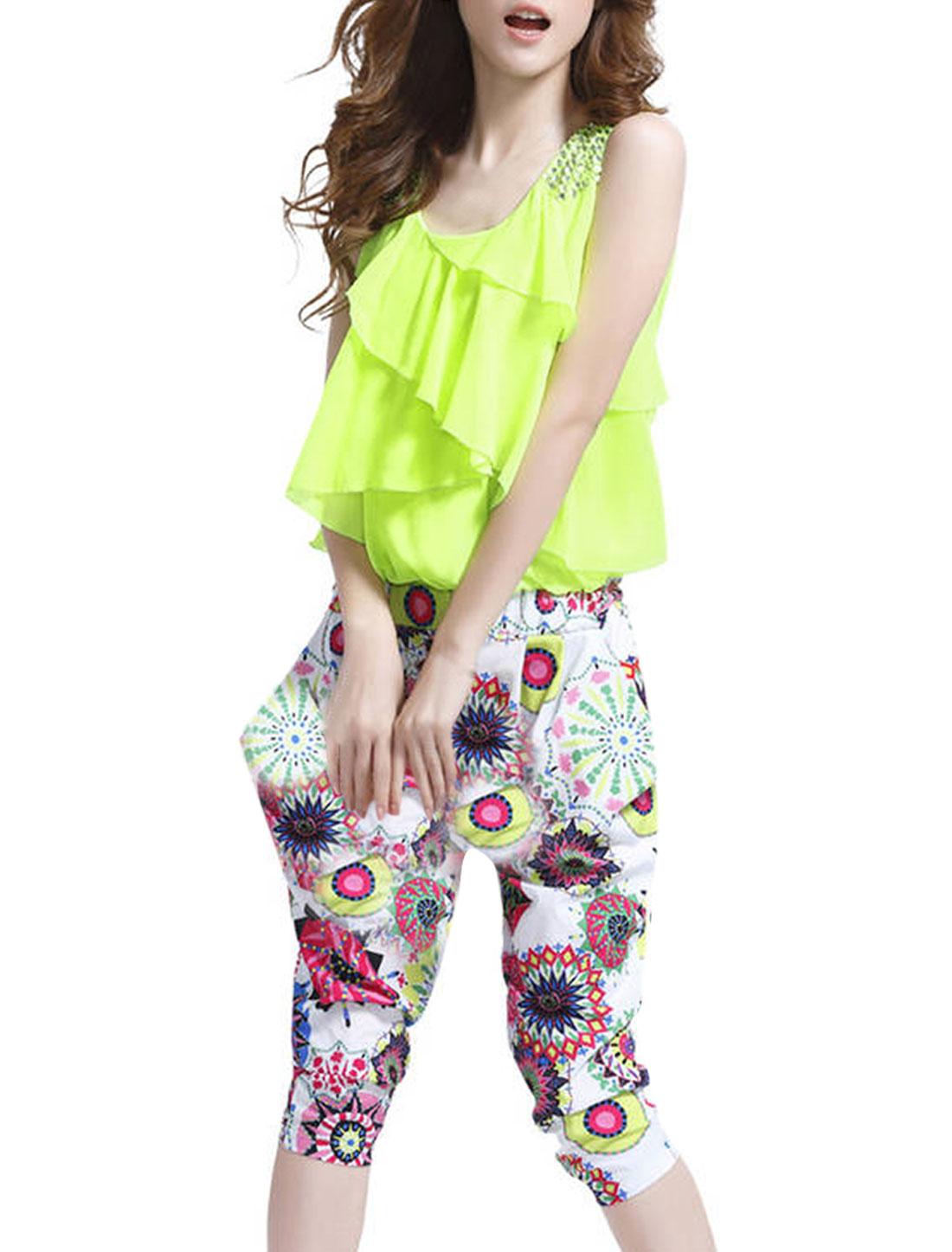 Scoop Neck Sleeveless Fake Crystal Decor Shoulder Lime Short Jumpsuit for Lady S
