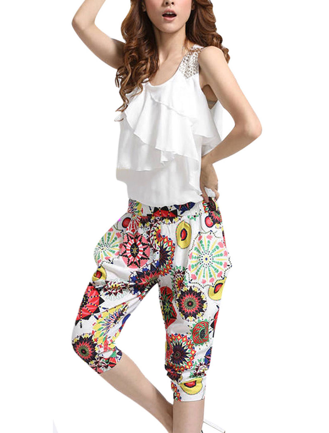 Lady Studded Shoulder Elastic Waist Novelty Prints White Harem Short Jumpsuit S