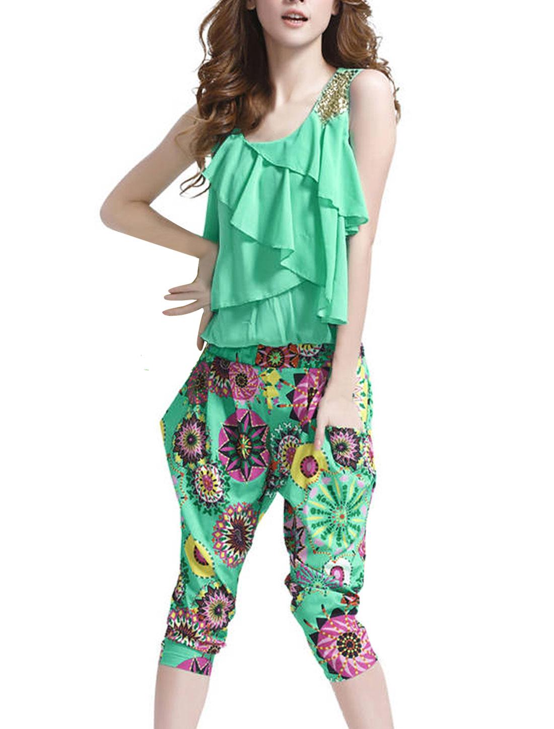 Ladies Chic Scoop Neck Tiered Ruffles Top Novelty Prints Mint Caprai Jumpsuit S