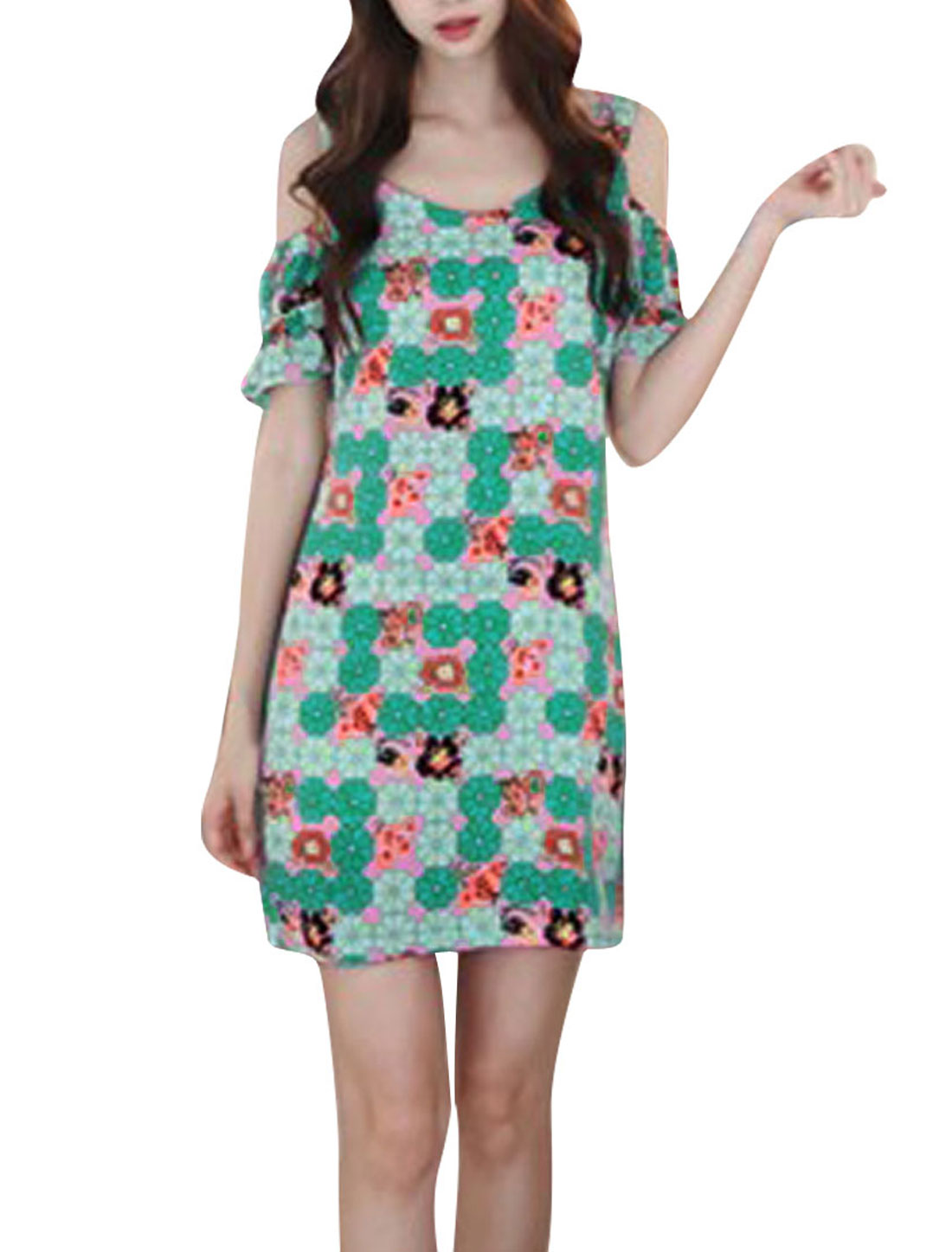 Women Short Sleeves Chiffon Floral Prints Casual Dress Light Green XS