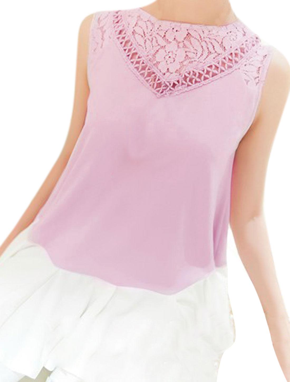 Ladies Lace Crochet Round Neck Flare Ruffled Hem Light Purple White Tops S