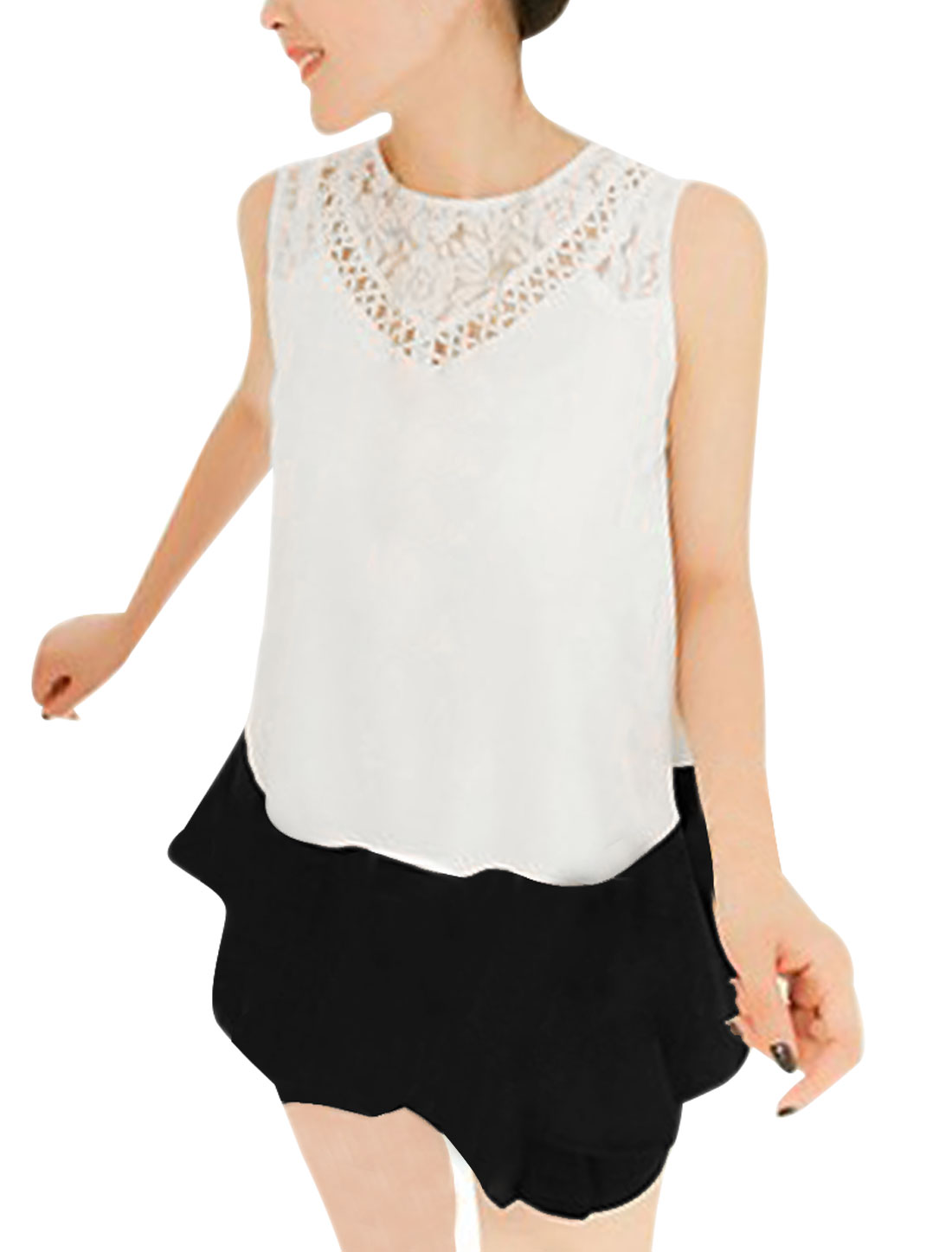 Woman Crochet Lace Round Neck Sleeveless Flare Hem White Black Casual Tops S
