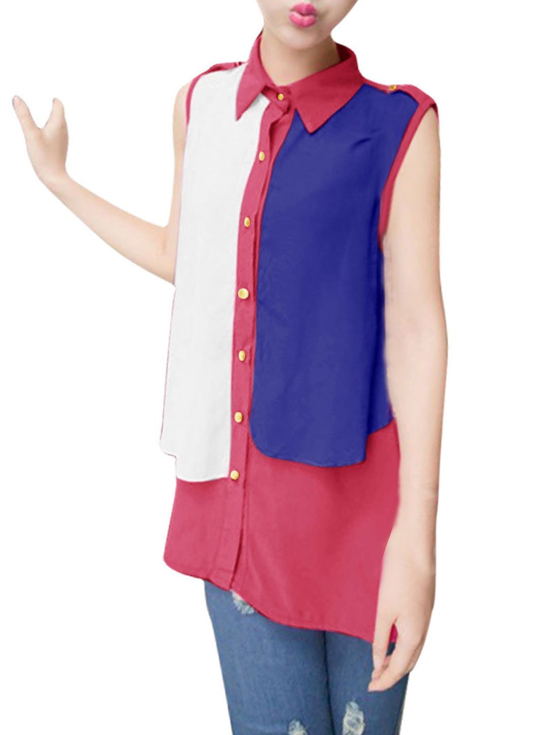 Woman Newly Royalblue Fuchsia Contrast Color Single-Breasted Front Blouse S