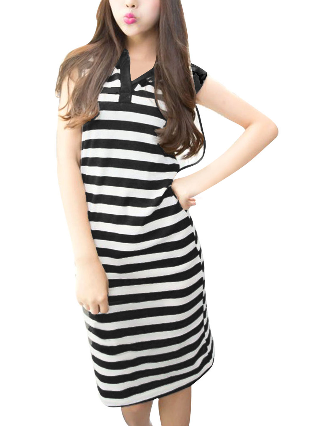 Ladies Chic Split Neck Stripes Pattern Hooded Black White Knee-Length Dress XS