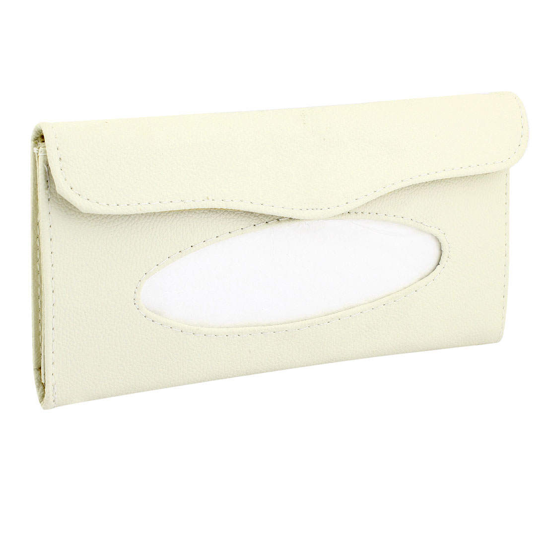 Ivory Faux Leather Car Vehicle Hook Loop Closure Paper Tissue Box Case Holder