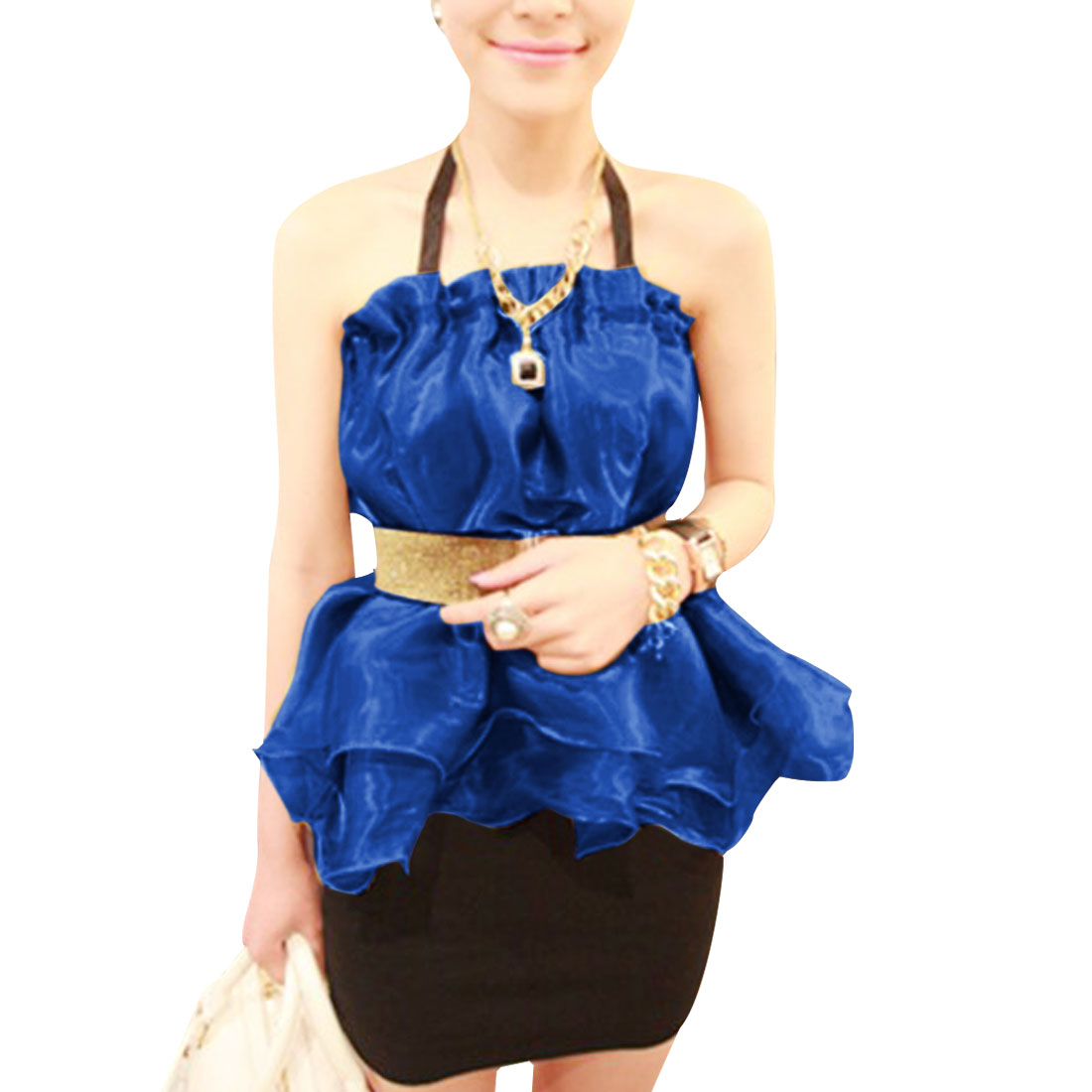 Ladies Sleeveless Ruched Detail Belted Casual Tops Royal Blue XS