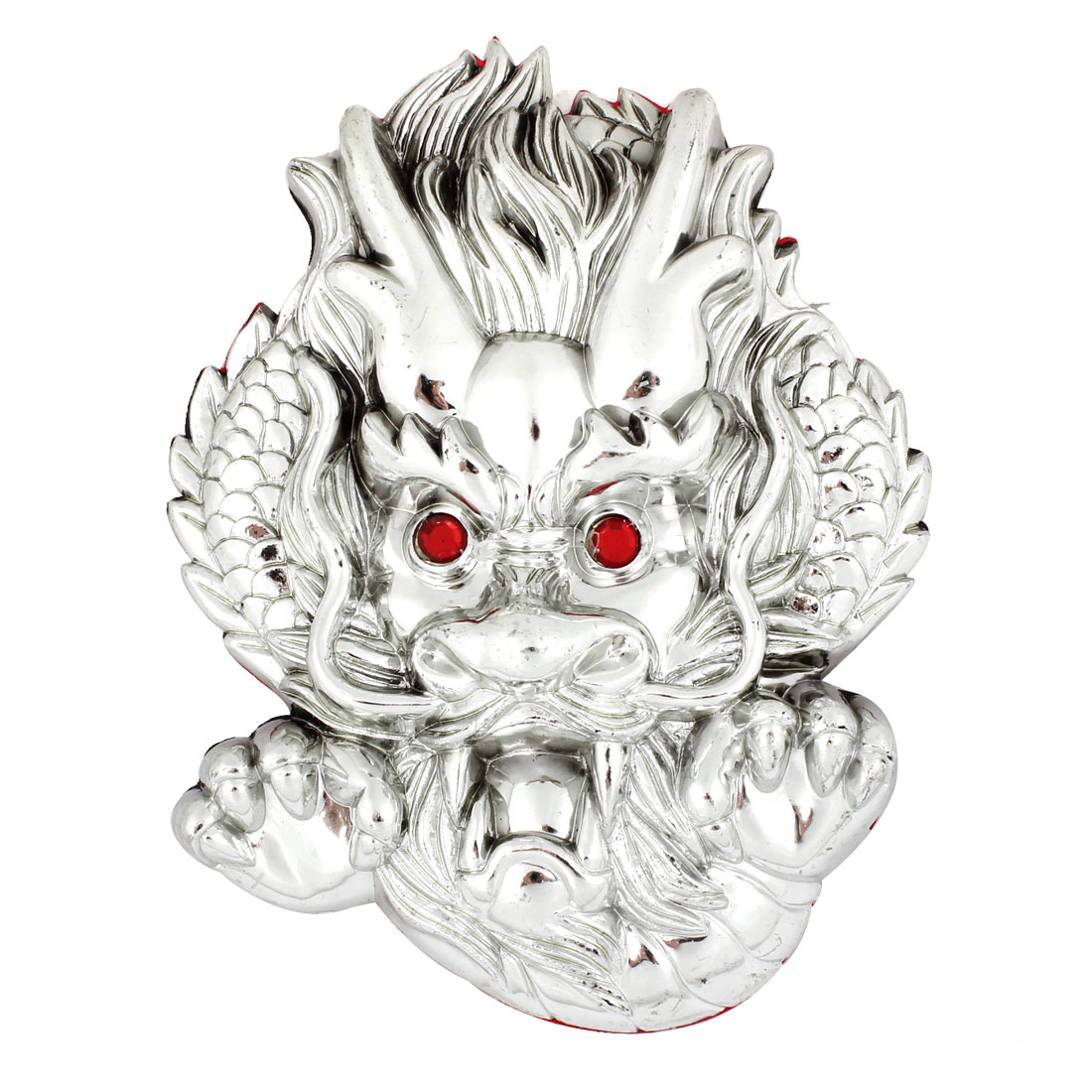 Red Rhinestone Accent Eyes Silver Tone 3D Plastic Dragon Shaped Sticker for Car