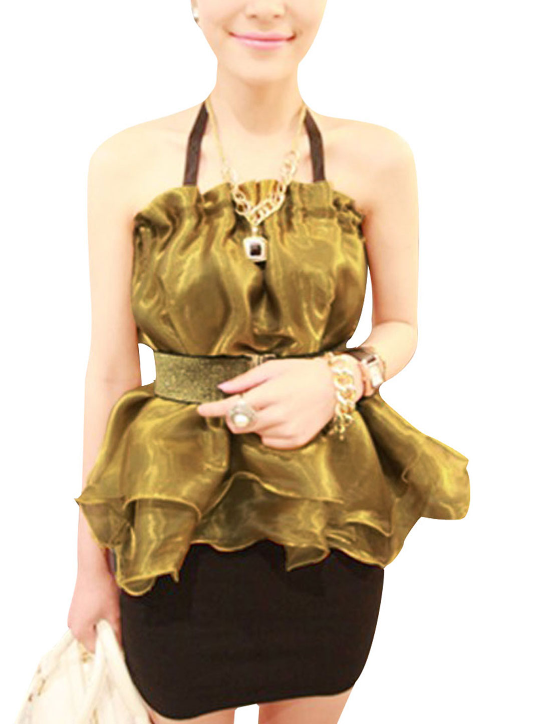 Ladies Backless Ruched Detail Lining Tops Light Gold Tone XS