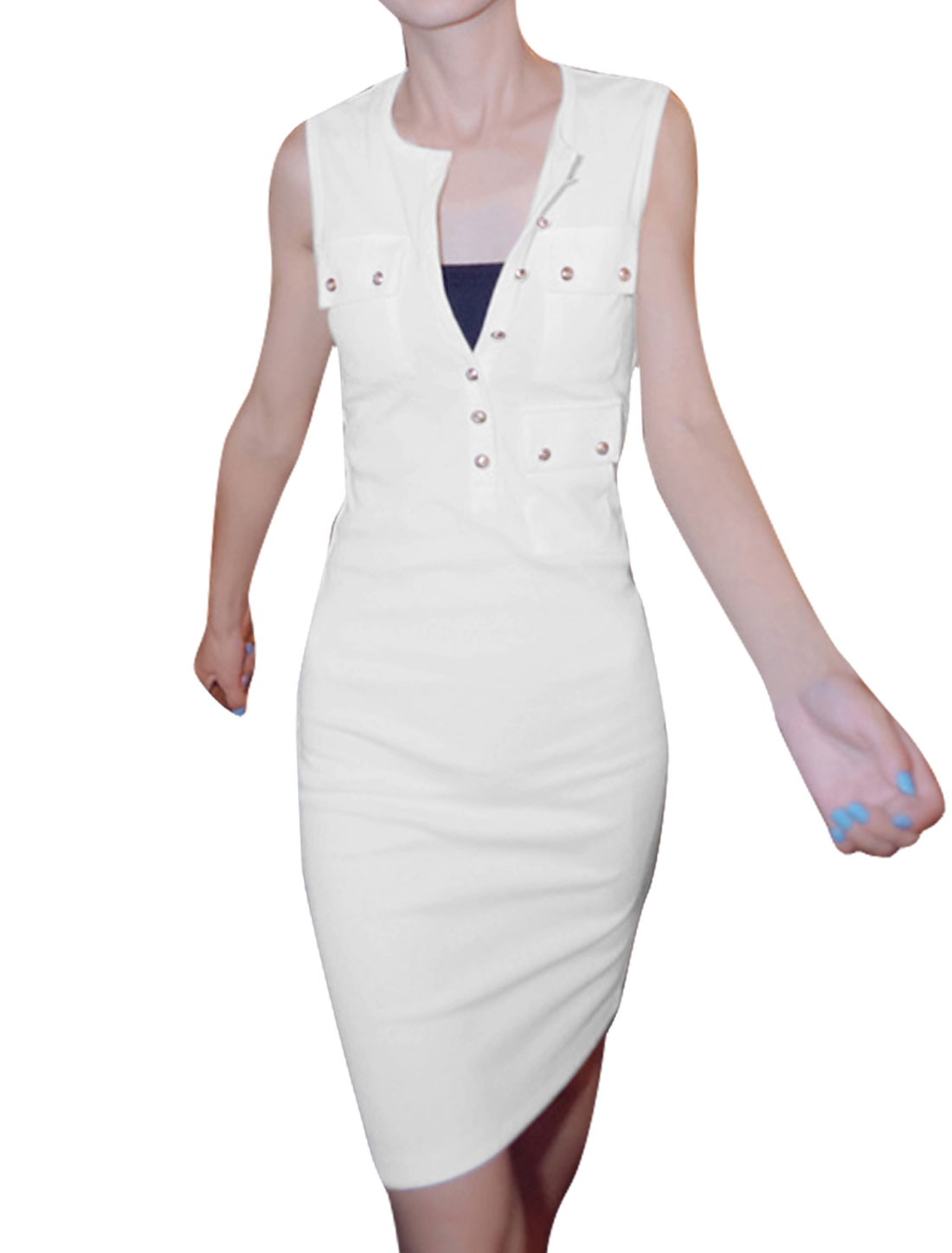 Ladies Sleeveless Buttons Up Front Solid Color Elegant Dress White XS