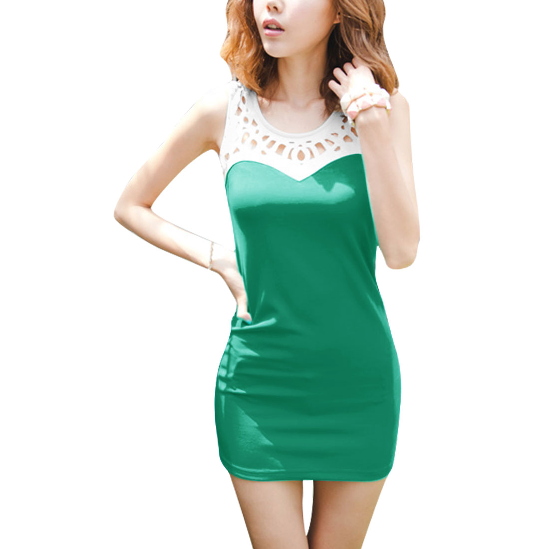 Lady Cut Out Detail Pullover Sleeveless Emerald White Mini Dress XS