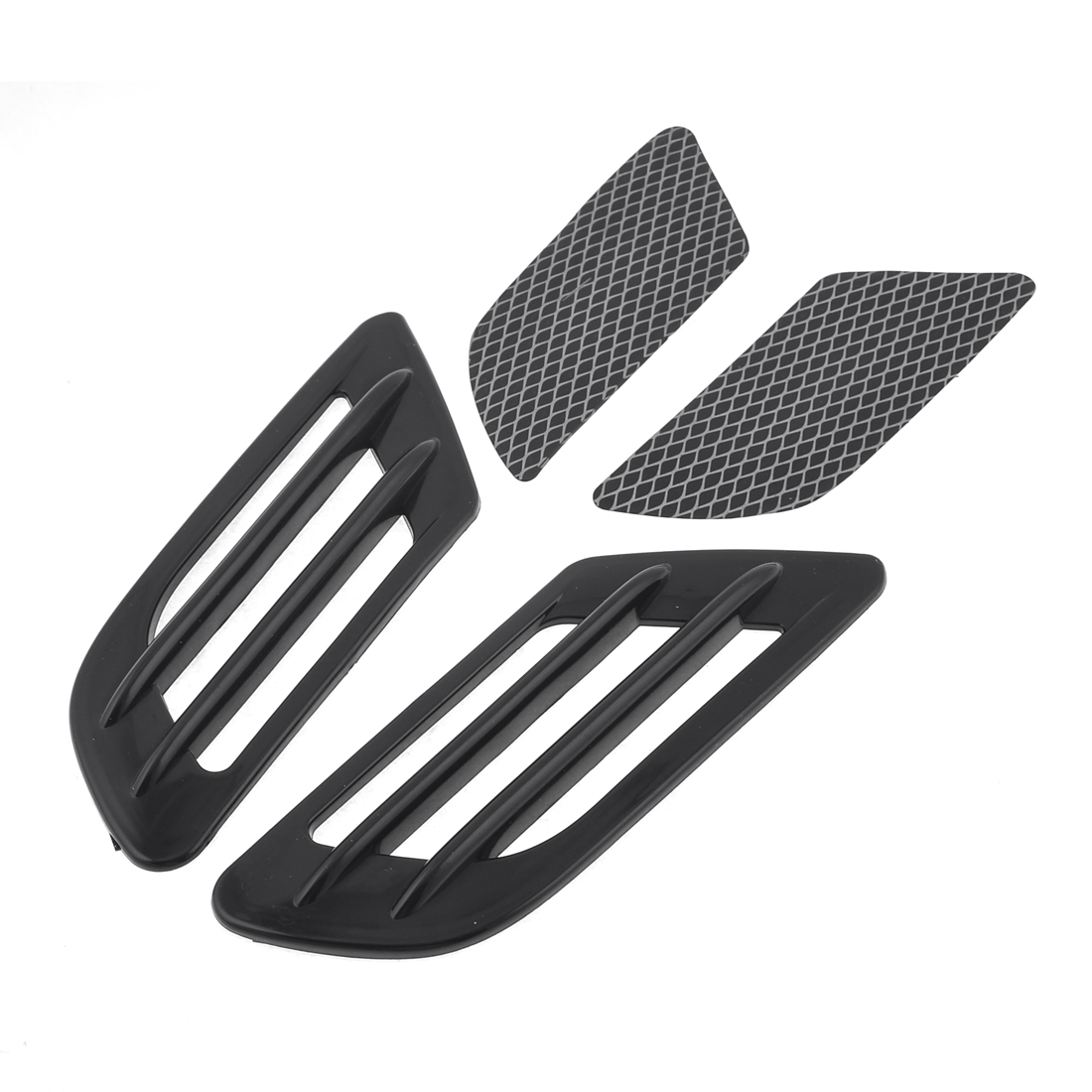 Car Auto Self Adhesive Side Vent Air Flow Fender Intake Stickers Black 2 Pcs