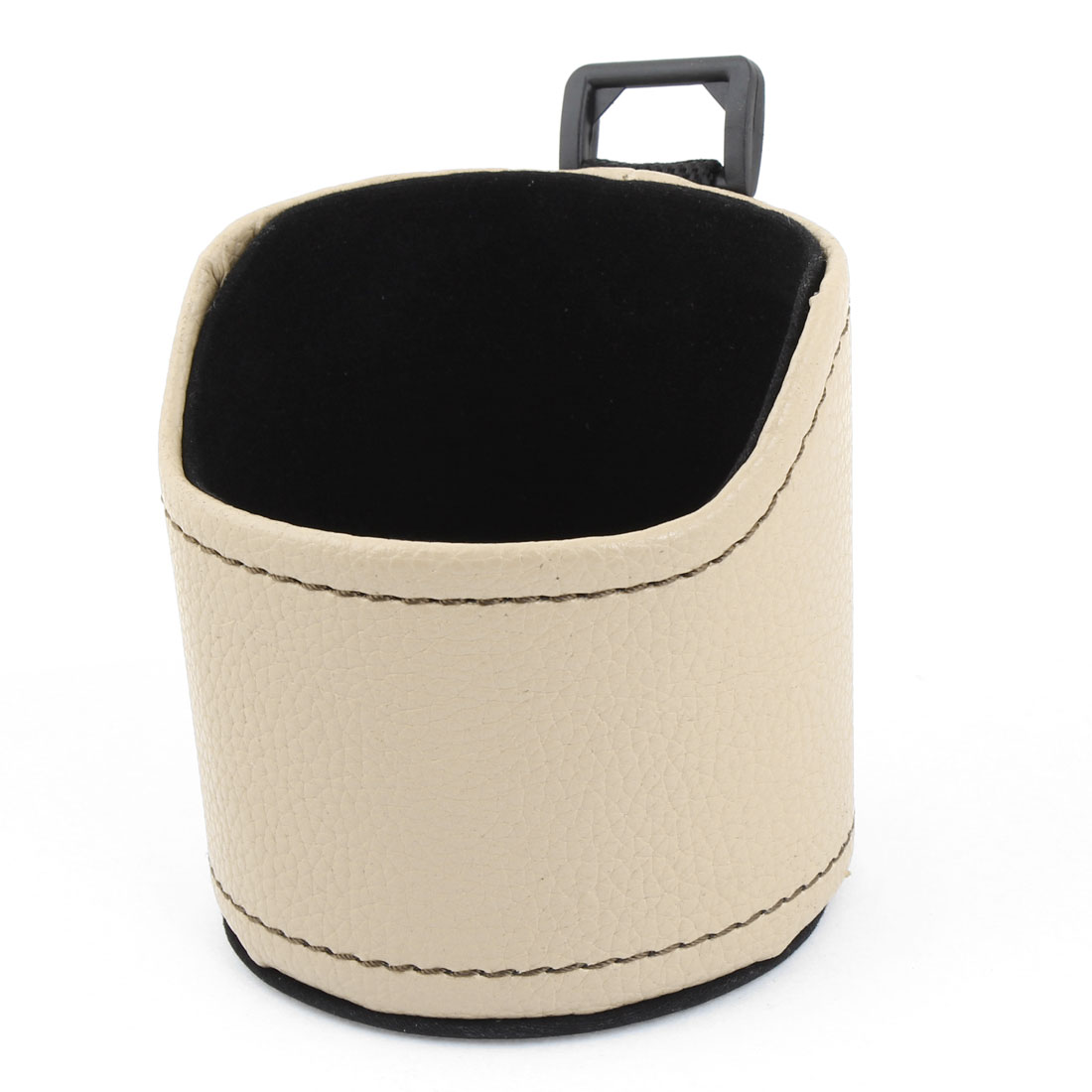 Khaki Faux Leather Cylinder Shape Mobile Phone Pouch Holder Pocket for Car Vehicle
