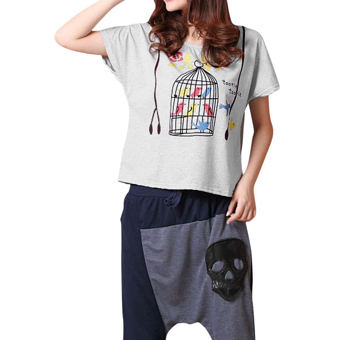 Women Birdcage Pattern Decor Batwing Sleeve T-Shirt Heather Gray S