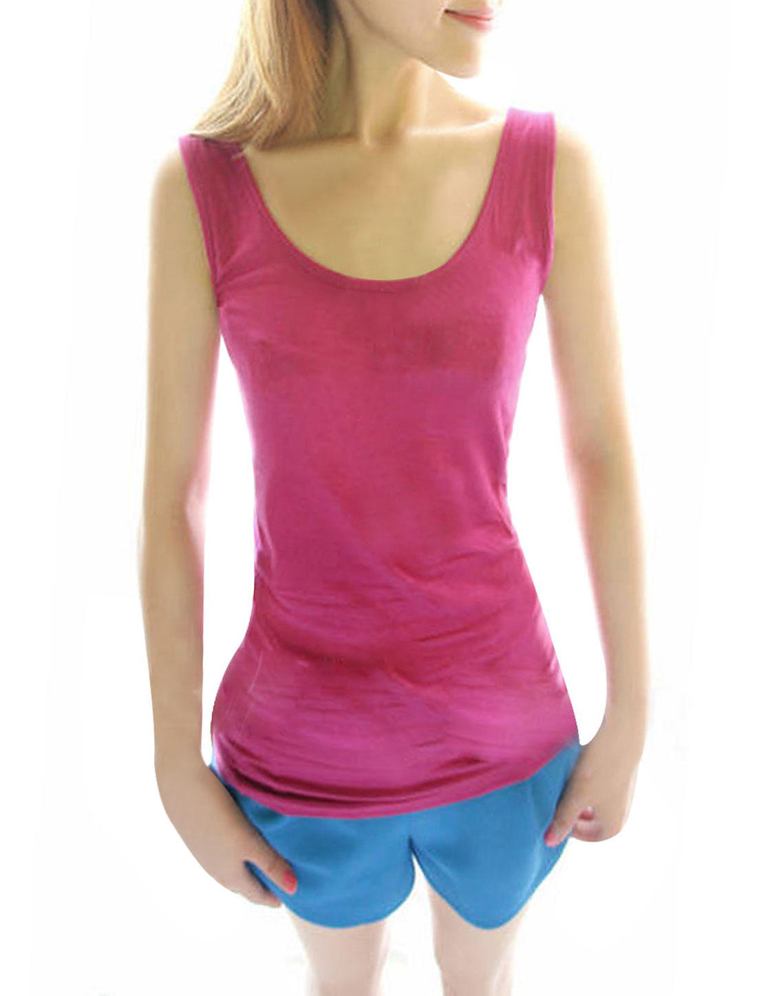 Women New Style Fuchsia Slipover Solid Color Stretchy Casual Tank Tops XS