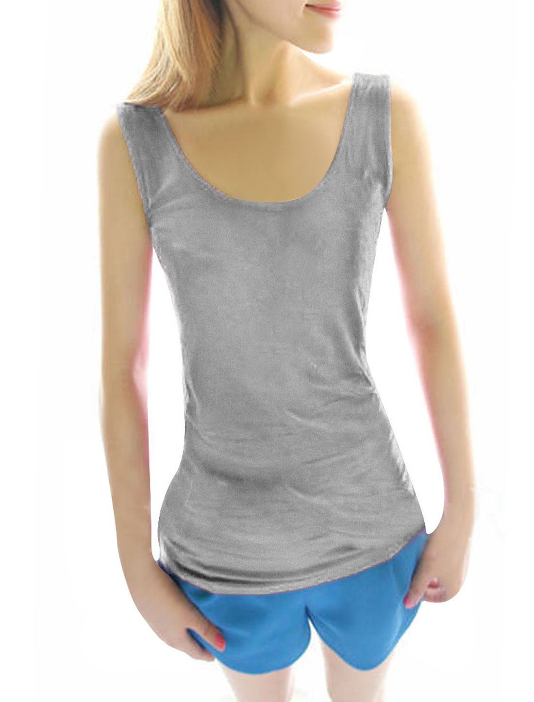 Woman Chic Scoop Neck Stretchy Slim Fit Light Gray Tank Tops XS