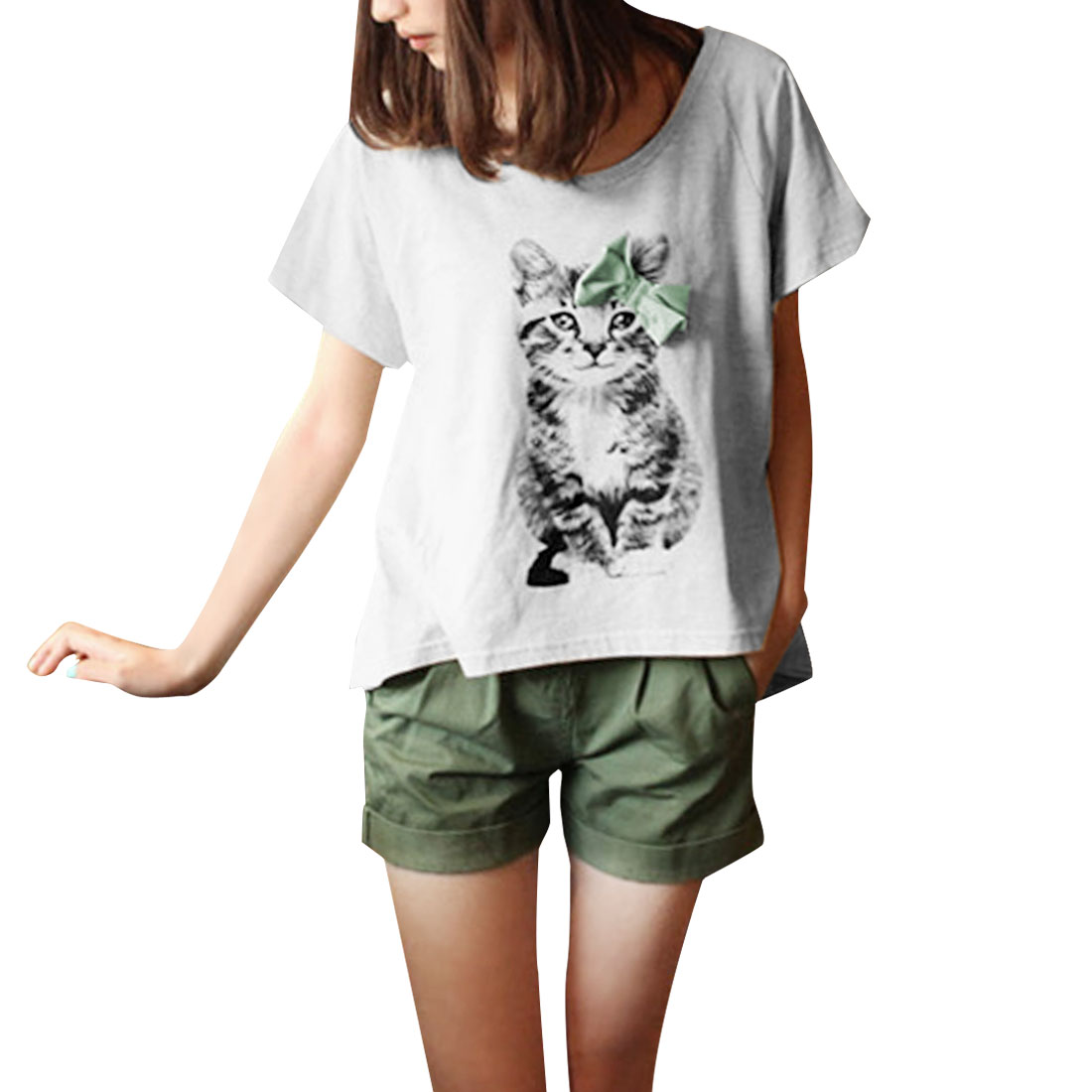 Lady Short Sleeve Bowknot Decor Cat Prints Casual T-Shirt Light Gray S