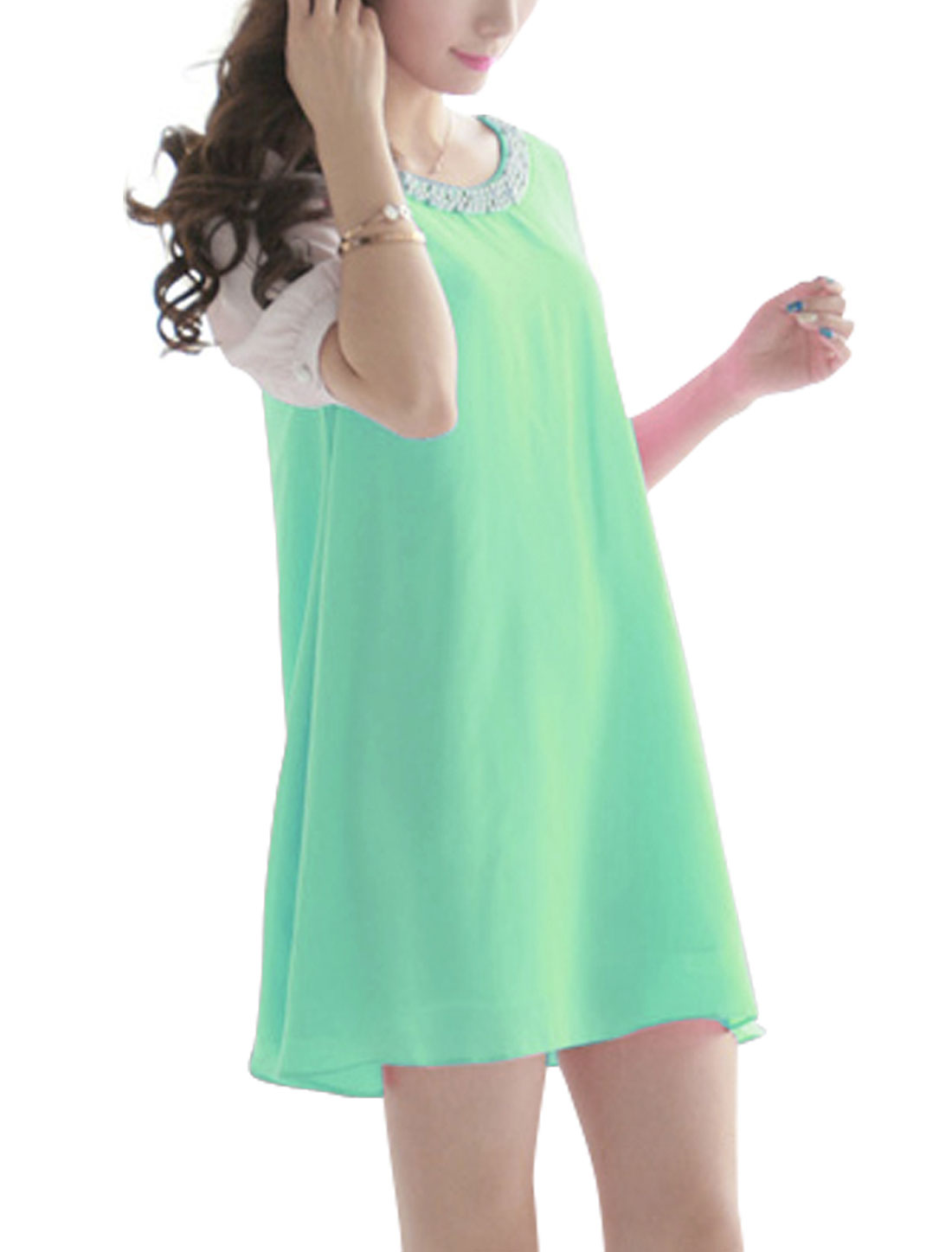 Ladies Round Neck Short Sleeve Lining Dress Aqua S