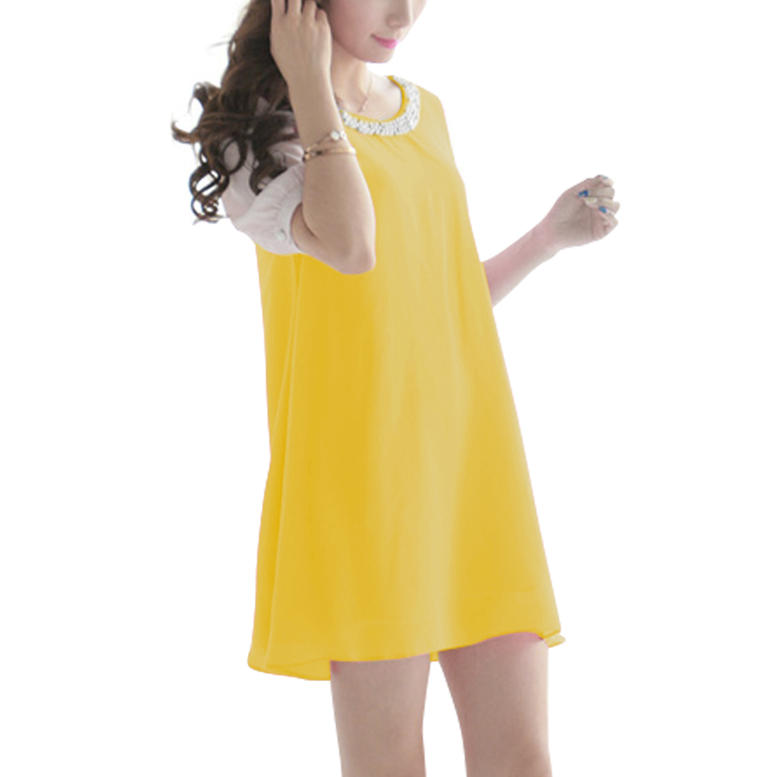 Ladies Round Neck Pullover Short Sleeve Panel Dress Yellow S