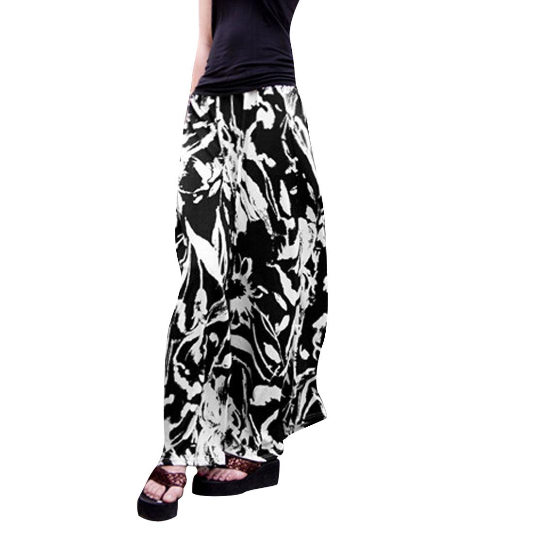 Lady Natural Waist Stylish Flower Prints Black White Long Pants XS