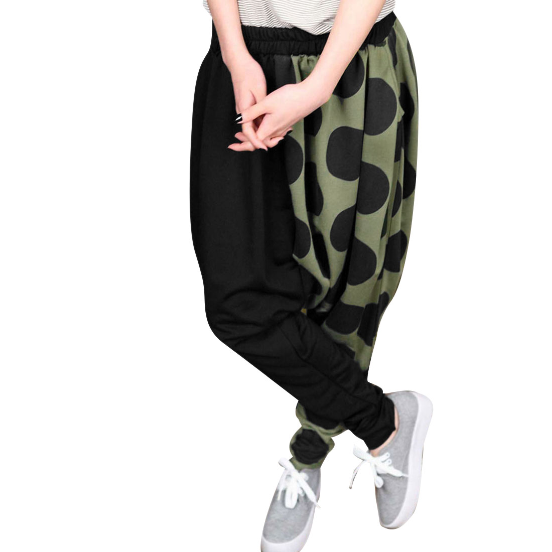 Women Elastic Waist Panel Dots Pattern Harem Pants Olive Green M