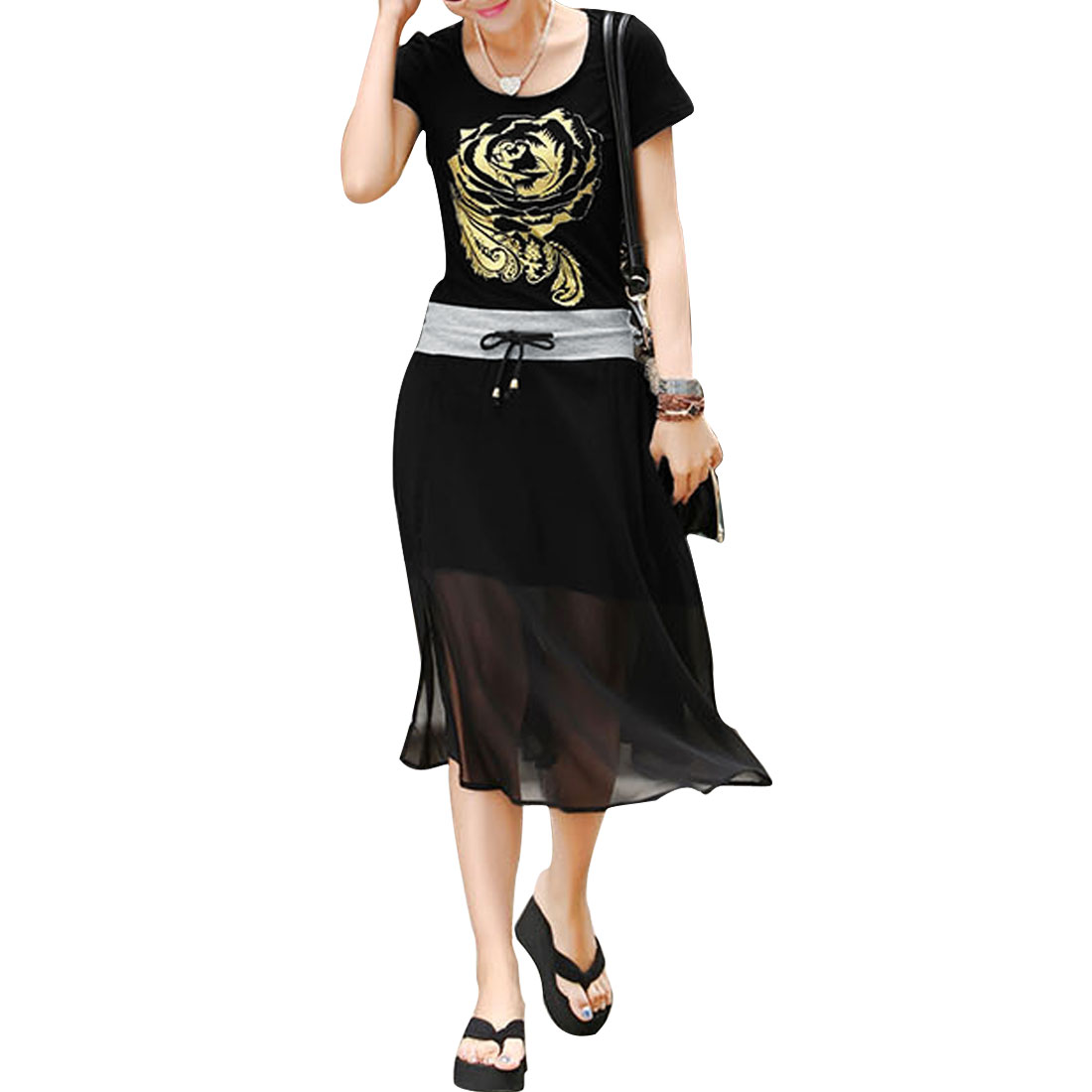 Women Short Sleeve Round Neck Panel Style Summer Casual Dress Black Xs
