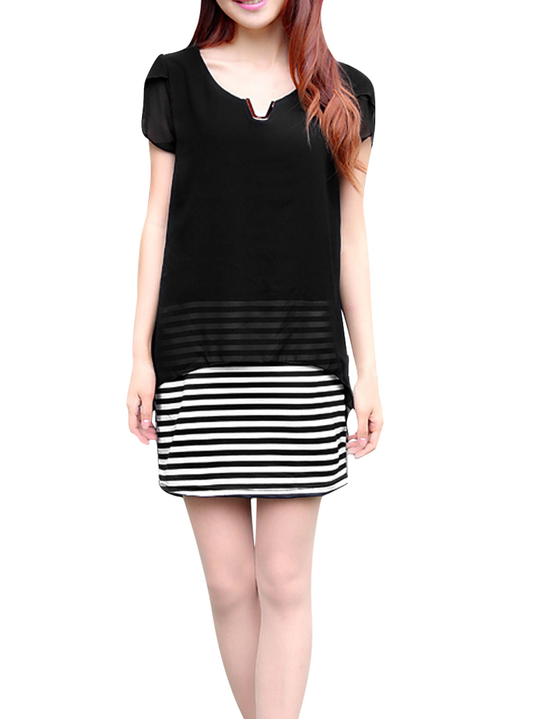 Lady Stripes Prints Short Sleeve Chiffon Shirt Dress Black S