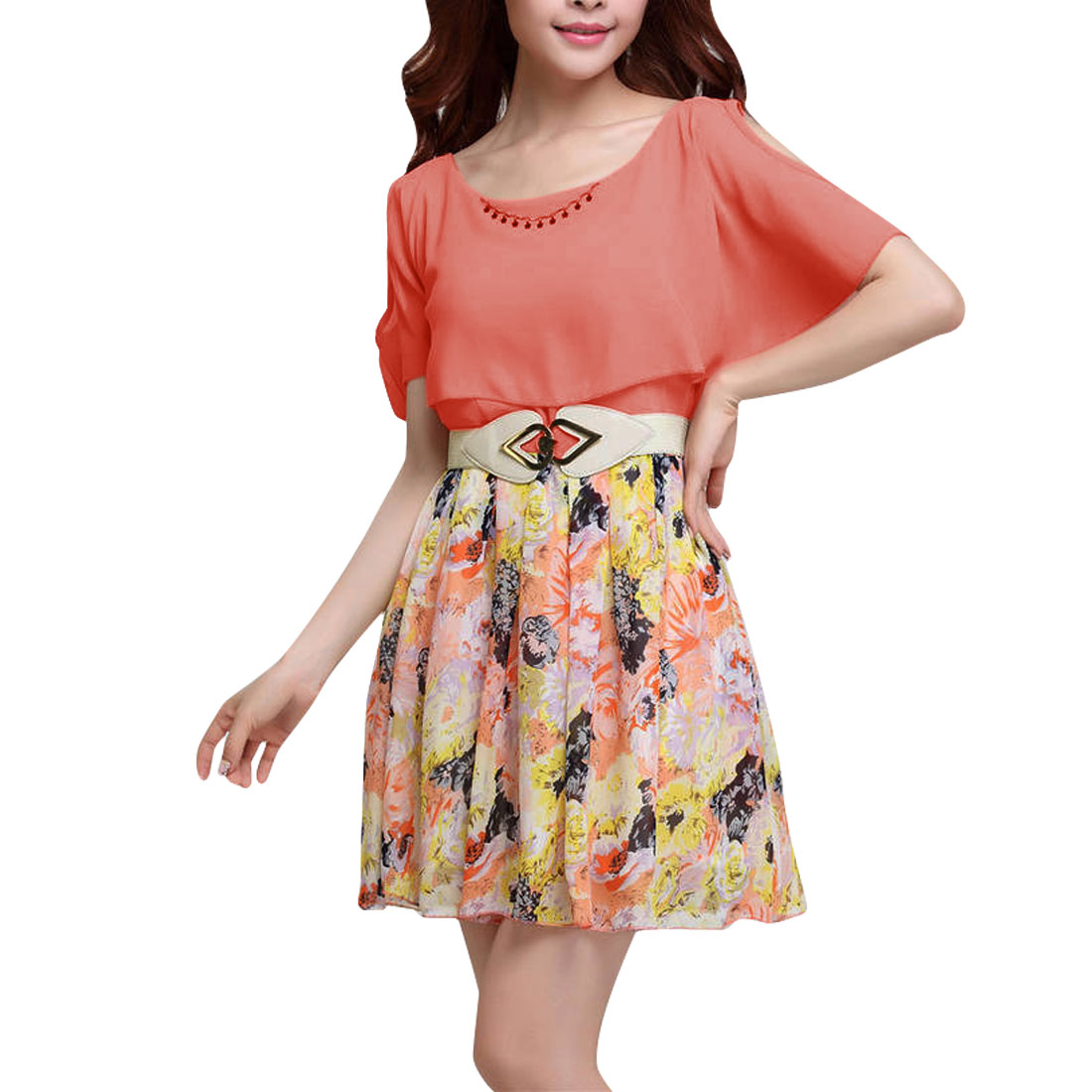 Lady Flounced Pullover Floral Prints Zip Up Side Pleated Salmon Pink Dress XS