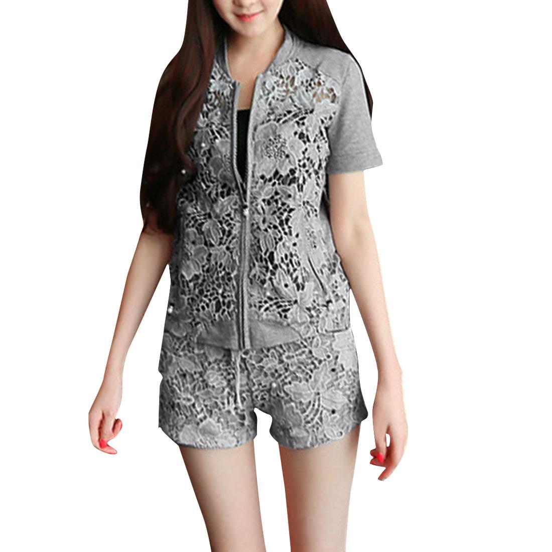 Ladies Short Sleeve Shirt & Elastic Waist Shorts Light Gray XS