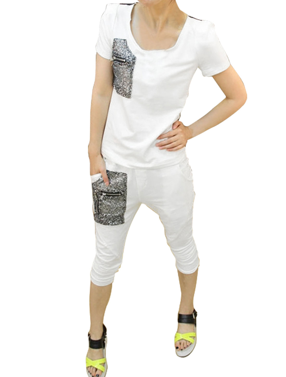 Ladies Round Neck Shirt & Panel Capris Pants White Black XS