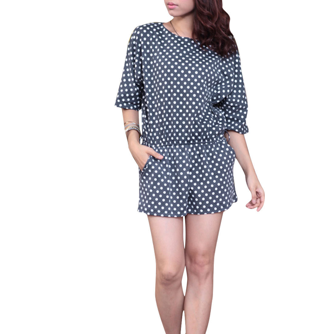 Ladies Chic Short Dolman Sleeve Dots Pattern Dark Blue White Short Rompers S