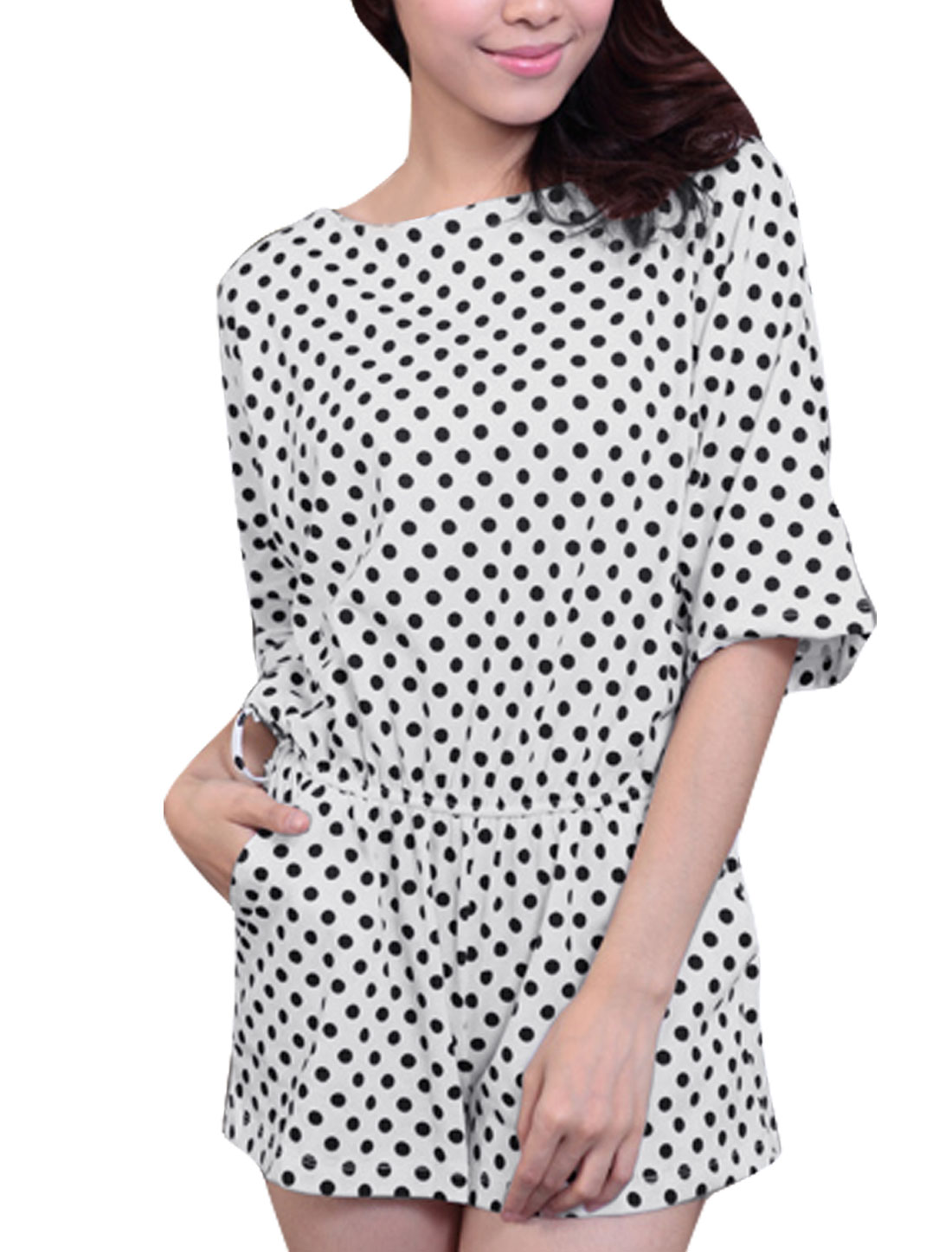 Woman Round Neck Short Dolman Sleeve Dots Prints Black White Short Rompers S