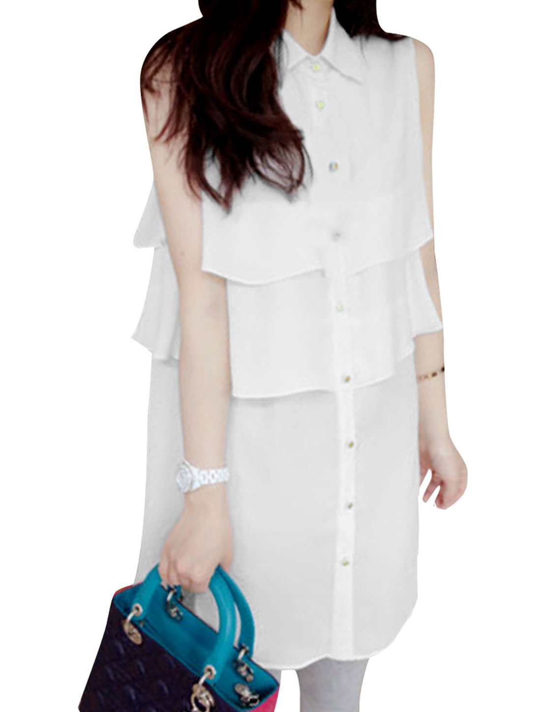 Ladies Point Collar Sleeveless Tiered Casual Shirt White S
