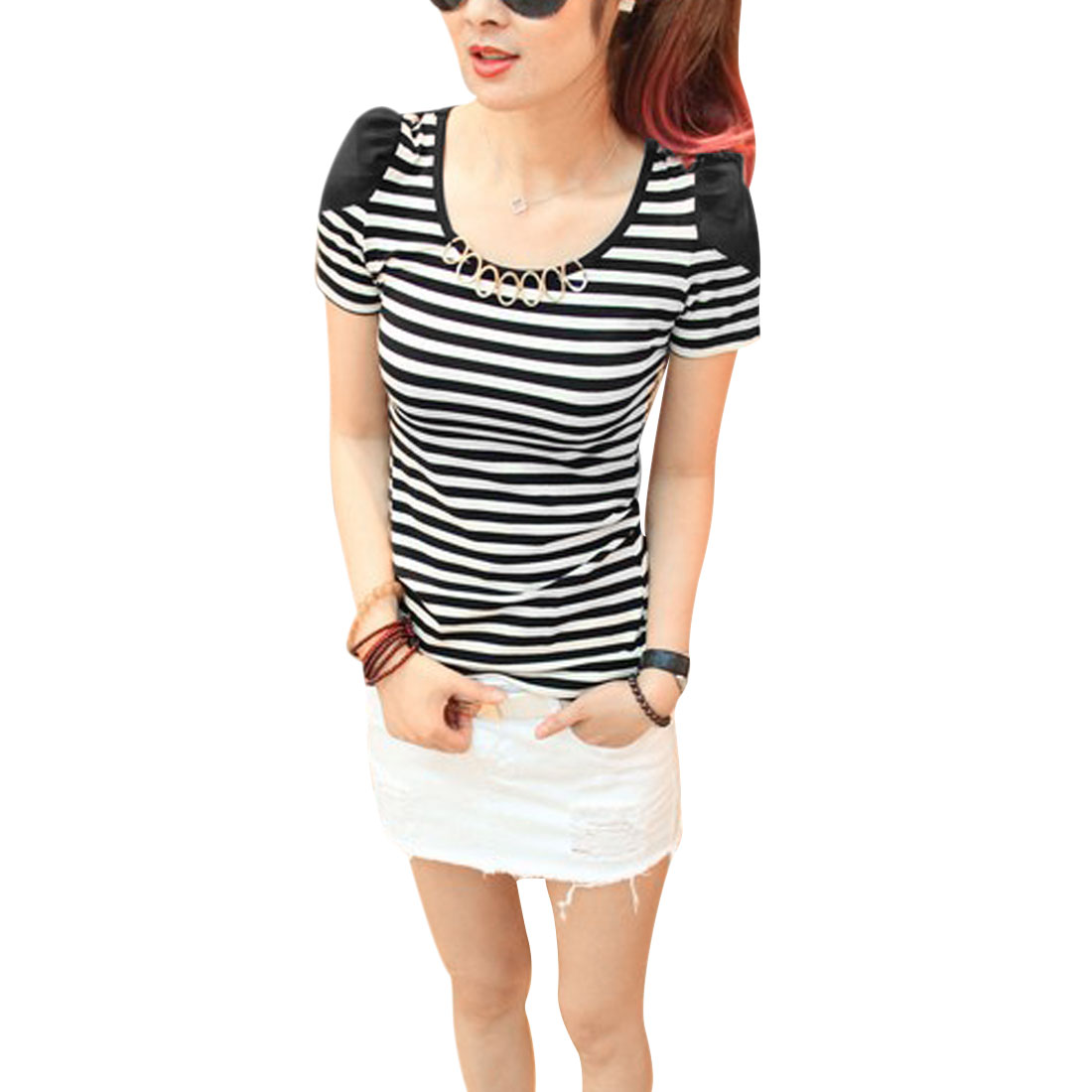 Women Round Neck Panel Chiffon Fashional Modern Shirt Black White XS