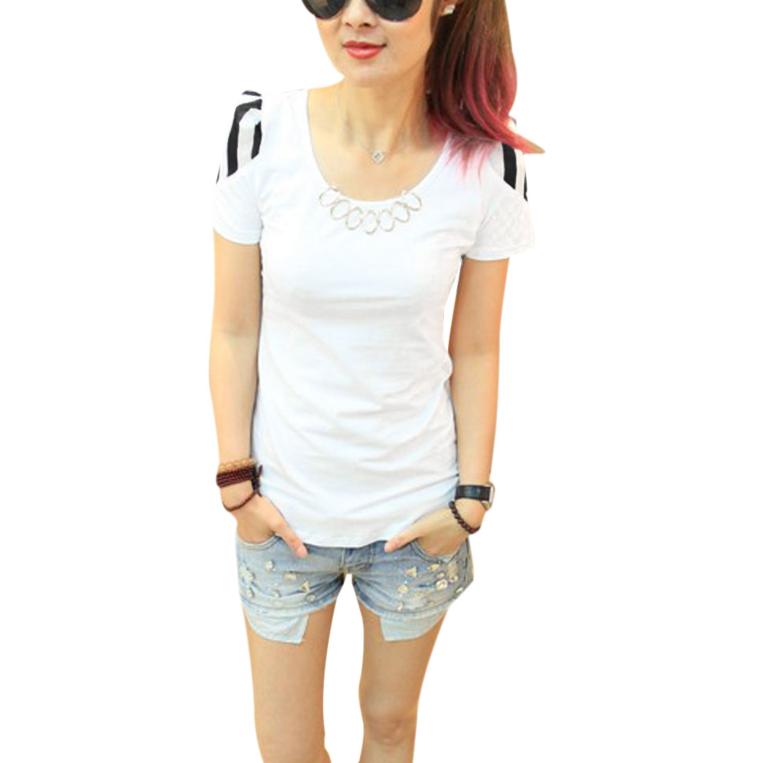 Women Spliced Chiffon Metal Decor Short-sleeved Chic Shirt White XS