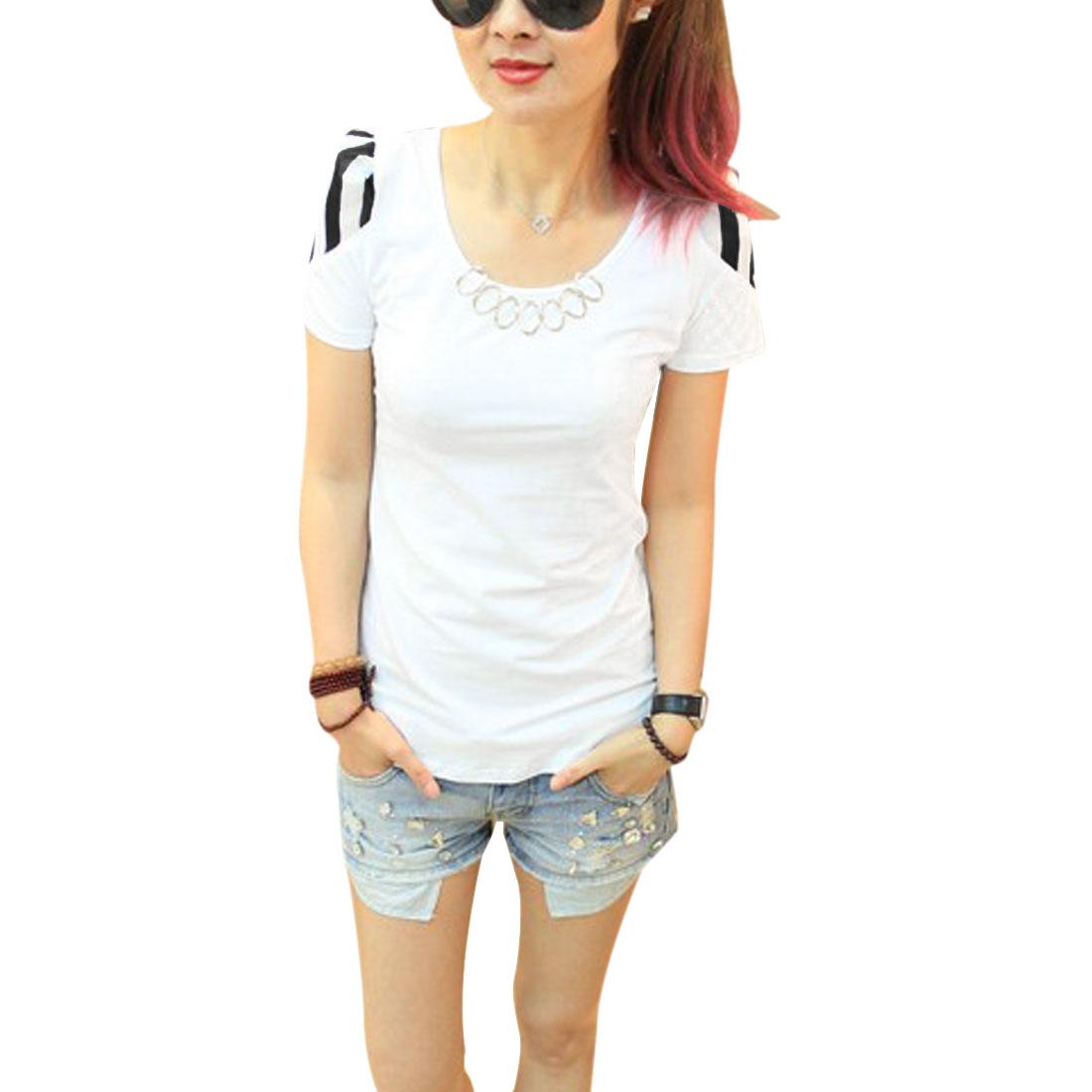 Women Spliced Chiffon Metal Decor Short-sleeved Chic Shirt White XS