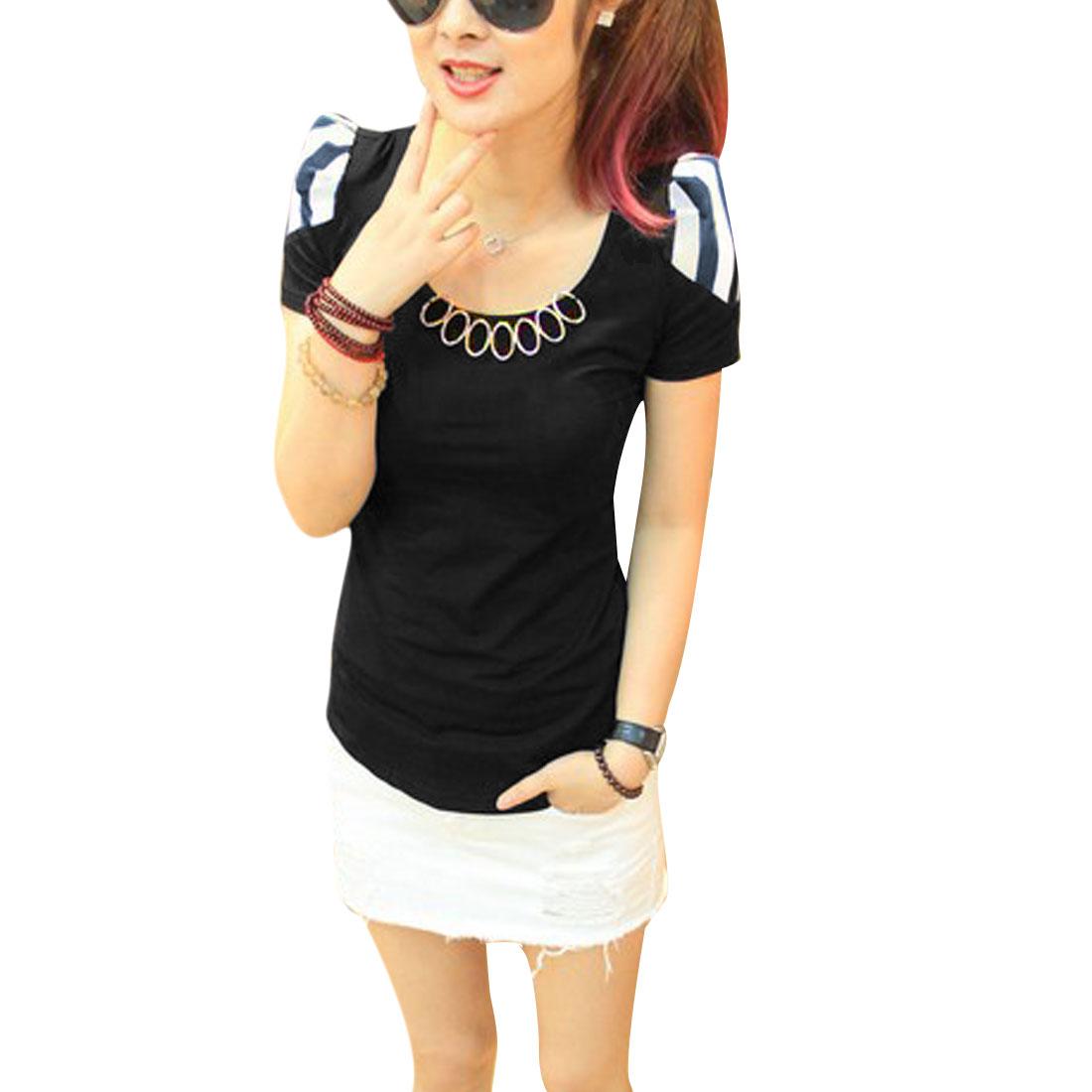 Ladies Metal Circle Decor Short Sleeve Round Neck Shirt Black XS