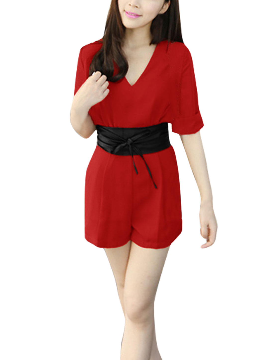Lady 3/4 Sleeve Zip Back Chiffon Belted Red Romper XS