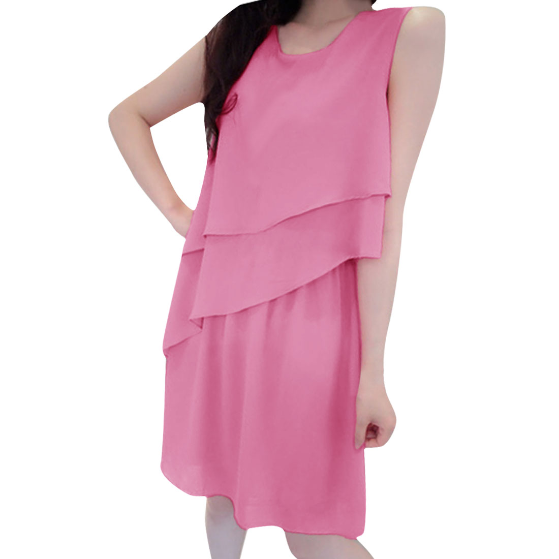 Woman Chic Round Neck Sleeveless Tiered Chiffon Hot Pink Above-Knee Dress S